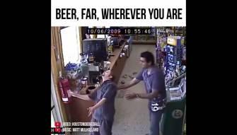 Drunkest guy ever tries t buy more beer... Hilarious!