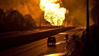 اندلاع حريق هائل في موسكو (فيديو)